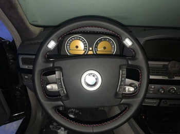 Перешив руля и подушки безопасности в чёрную эко кожу на микрофибре Nappa. BMW 7 E65