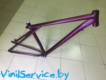Оклейка велосипеда в бордовый 3D карбон
