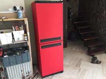 Оклейка холодильника в красную алмазную крошку