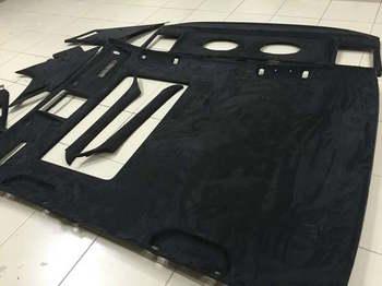 Перетяжка потолка и других элементов салона в чёрную алькантару   BMW 7 e32